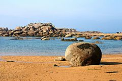 A beach in Brittany. A nice beach in Brittany, France, at the rose granite coast, with subtle color variations Stock Images