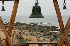 Beach and Bronze Bells Isla Negra Chile Stock Photos