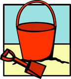 Beach bucket and shovel Royalty Free Stock Photos