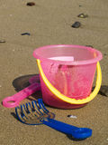 Beach bucket with shovel Royalty Free Stock Photo