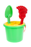 Beach bucket with toys isolated Stock Image