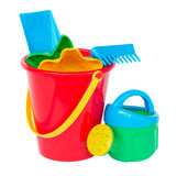 Beach bucket with toys Stock Images