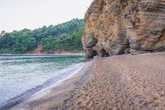 Beach in Budva. Small cove next to Mogren beach in Budva town, Montenegro Royalty Free Stock Photography