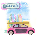 Beach Buggy. Parked by Surf Boards vector illustration