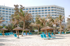 Beach and building of the luxury hotel Stock Image