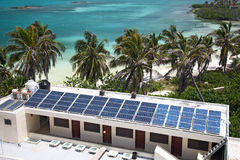 beach with a building with a solar panel on the I Royalty Free Stock Images