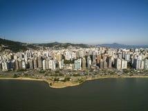 Beach and buildings Beira Mar Norte / Florianopolis. Santa Catar Stock Photography