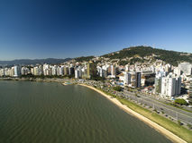Beach and buildings Beira Mar Norte / Florianopolis. Santa Catar Royalty Free Stock Photography