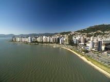 Beach and buildings Beira Mar Norte / Florianopolis. Santa Catarina, Brazil. July 2017. Royalty Free Stock Images