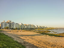 Beach and Buildings of Montevideo Stock Image