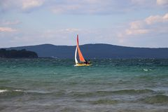 Beach in Bulgaria. Boat in the sea. Stock Photography