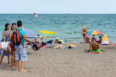 On the beach of Bulgarian Burgas royalty free stock photography