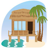 Beach bungalow hotel. Flat scene with hut, sea, send, surfboard and palm tree Stock Photo
