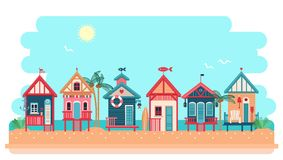 Beach bungalow hotel. Vector summer illustration. Beach bungalow hotel. Summer huts landscape. Vector vector illustration