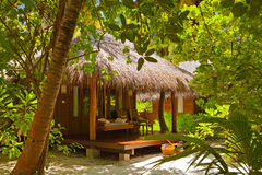 Beach bungalow - Maldives Stock Photo