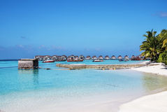 Beach bungalows, Maldives Stock Images