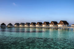 Beach bungalows, Maldives Stock Images