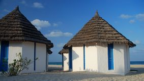 Beach bungalows in a touristic resort. Djerba, Tunisia Royalty Free Stock Image