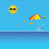Beach with butterfly vector illustration Stock Photo