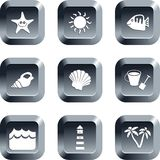 Beach buttons. Collection of beach icons set on keypad style buttons Royalty Free Stock Photography
