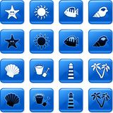Beach buttons. Collection of square blue rollover beach buttons Royalty Free Stock Photo