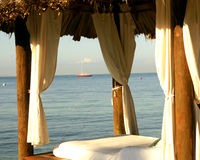 Beach Cabana. Wood framed beach cabana in Jamaica Royalty Free Stock Photo