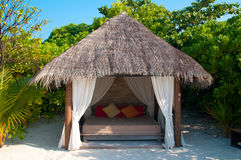 Beach Cabana. On a maldivian island Royalty Free Stock Images