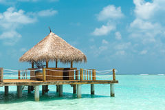 Beach cabana. Above the indian ocean on the maldives Royalty Free Stock Images
