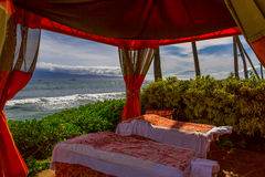 Beach Cabana. With massage tables at a Hawaiian luxury resort Royalty Free Stock Image