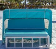 Beach Cabana Seat for Two. Beach cabana lounge seat for two in Florida stock image