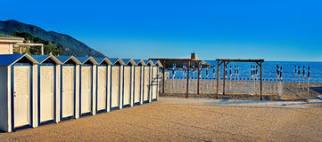 Beach cabanas on the seafront Royalty Free Stock Photos