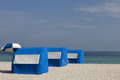 Beach Cabanas and Umbrella Stock Photo