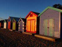 Beach cabin. Colourful Australian beach cabin at sunset Royalty Free Stock Image