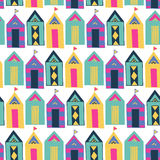 Beach cabin bright colorful geometric vector seamless pattern. Stock Images