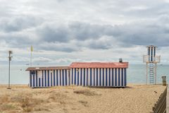 Beach Cabin in Isla Cristina. Isla Cristina is one of the most popular resorts on the Costa de la Luz in Huelva with many beaches to choose from Stock Photos