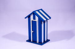 Beach Cabin White and Blue Dressing Room Stock Photo