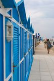 Beach cabins along the beach, Italy, Riccione royalty free stock photos