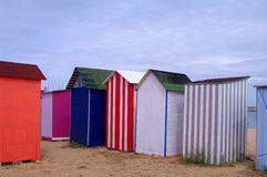 Beach cabins on atlantic coast Stock Image