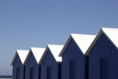 Beach Cabins. Blue and white wooden cabins for changing clothes on beach in Sorrento,Italy Royalty Free Stock Images