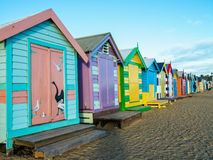 Beach cabins at Brighton Beach Royalty Free Stock Images
