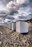 Beach cabins clouds Royalty Free Stock Image
