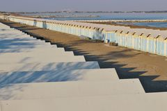 Beach cabins on the Lido beach in Venice, Italy. Royalty Free Stock Photography