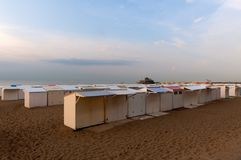 Beach cabins North Sea Blankenberge, Flanders, Belgium. Beach cabins on the beach of Blankenberge at the North Sea in the evening. Flanders, Belgium Stock Photography