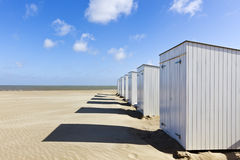 Beach cabins at North Sea coast, Belgium Stock Images