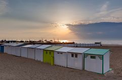Free Beach Cabins North Sea Sunset Blankenberge, Flanders, Belgium Royalty Free Stock Photography - 118252937