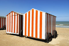 Beach cabins at the Northsea, Belgium Royalty Free Stock Photos