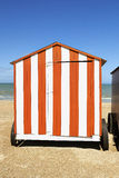 Beach cabins at the Northsea, Belgium Royalty Free Stock Photo