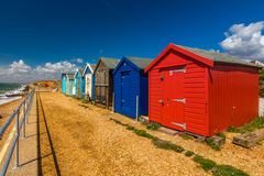 Beach cabins. Photo was taken in Milford on sea, UK stock photos