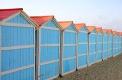 Beach Cabins in Sicily. Blue beach cabins in Mondella beach Sicily, Italy Stock Image