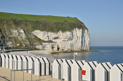 Beach cabins at Yport in France Royalty Free Stock Image
